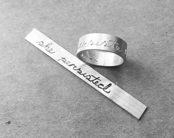 """handwritten script """"she persisted"""" sterling silver ring Elizabeth Warren 'nevertheless she persisted' inspired"""