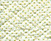 """Vintage Yellow Rosebuds Quilted Flannel Fabric Miniature Dollhouse Doll Bed Baby Room Decor Yellow Green Small Remnant 8"""" x 32"""" Plus Extra"""