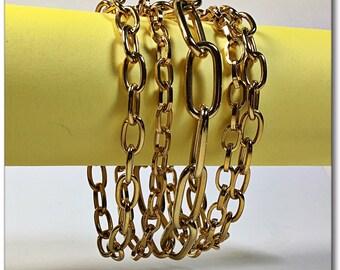 Vintage Wide Napier gold tone mulit chain bracelet