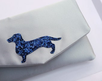 Dachshund glitter and satin small clutch purse - choose your colours