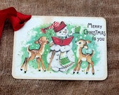 Merry Christmas Caroling Snowman Deer Gift or Scrapbook Tags or Magnet #86