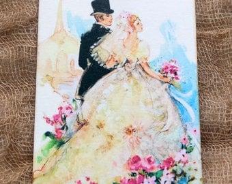 Retro Style Bride & Groom Wedding Shower Favor Gift or Scrapbook Tags or Magnet #364