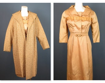 Vintage Mid Century Three Piece Dress, Bolero Jacket, Duster Jacket, Sz M