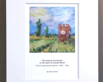 Print of The Hudson Ohio Clocktower In The Style of Monet, Impressionism, 10x8 inches, Matted, by Ohio Artist Karen Koch