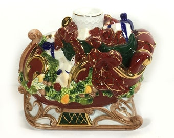 "Vintage Waterford ""Holiday Heirlooms"" - Holiday Sleigh Ride Candleholder, Christmas Sleigh, Bright Gold Trim"