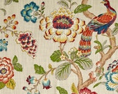"""Vibrant Bird Curtains, Colorful Window Treatments, Bright Floral Drapes, Whimsical Curtains, Custom Rod Pocket Panels, One Pair 50""""W"""