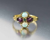 Victorian Emerald Amethyst Opal Ring, Opal Engagement Ring, Amethyst Ring, Gold Antique Engagement Ring, Alternative Bohemian Stacking Ring
