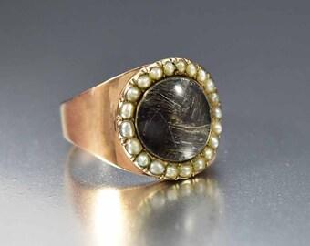 Antique Georgian Memorial Ring, 15K Rose Gold Ring, Natural Pearl Ring, Rock Crystal Mourning Hair Locket, Dated 1798 Sentimental Love Token