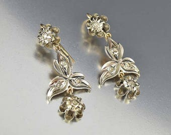 Antique Georgian Rose Cut Diamond Earrings, Silver Gold Earrings Giardinetti Dangle Vintage Diamond Earrings, 1830s Boho Bride Earrings