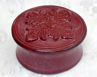 Second- Decorative Lidded Shaving Bowl or Trinket Dish in Burgundy