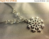 snowflake necklace ... white enamel and silver snowflake pendant with partial crystal beaded chain