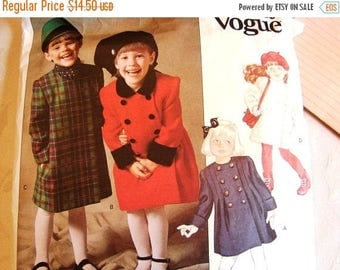 on SALE 25% OFF Vintage Girls Dressy Double Breasted Coat Pattern Vogue Toddler size 3 UNCUT Toddler Coat Sewing Pattern Little Vogue