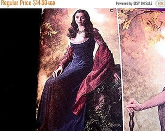 on SALE 25% OFF Womens Medieval Renaissance Pattern Costume Gown Dress Pattern Woman Costume Sewing Pattern size 10 12 14 16 18 UNCUT