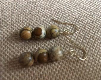Picture Jasper Earrings, Natural Semiprecious Gemstone, 14K GF Earwires Tan Earrings, Brown Earrings, Beaded Earring Beach Earring