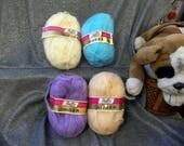 Reserved Listing for Carol, Vintage Fluffy Unger Yarn, 4 Skeins Assorted Colors, Destash