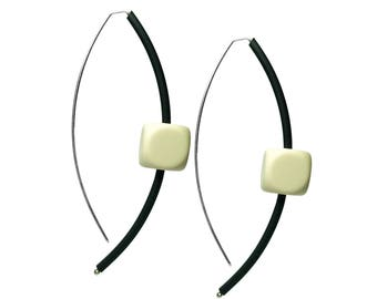 black and cream cube earrings,  architectural jewellery, rubber accessories designed by frank ideas