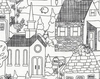 204669 Tissu blanc avec des maisons, bâtiments au contour noir, par Timeless Treasures