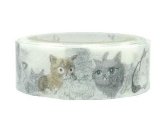 210653 white with cute cat smiling Washi Masking Tape deco tape Shinzi Katoh