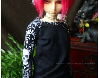 ABJD Dollfie CP Delf Senior Delf Contrast skull and damask punk long sleeve tee