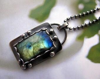 Labradorite Sterling Silver Pendant Necklace, Labradorite Gemstone Pendant, Handmade Sterling Silver Necklace Pendant