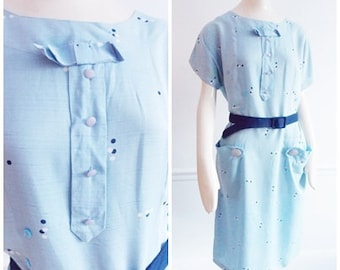 1940s pale blue polkadot Dress / 40s abstract print dress/ WWII swing dress/ 1950s Rockabilly large dress