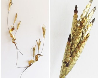 C. Jere Brass abstract Brutalist wheat Sculpture/ 1950s Mid Century brass metal leaf wall hanging statue