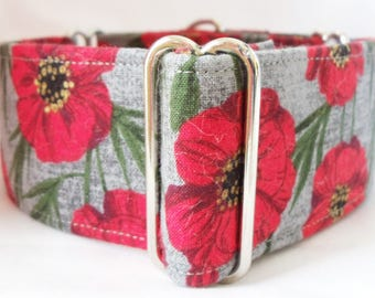 Red Poppies on Gray Greyhound, Whippet, Dog, Pit Bull, Doberman, Galgo Martingale Collar