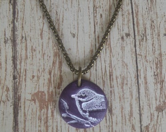Hand Made Deep Purple Polymer Clay Pendant - Hand Painted Bird on a Branch Hung on an 18 inch, Antiqued Brass, Round Chain