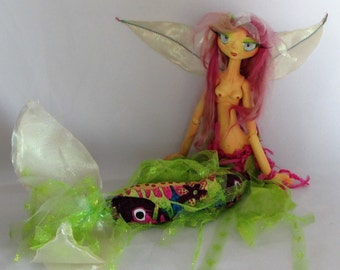 Fiesta Merfaerie art doll, mixed media doll made in the USA