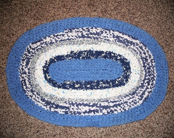 Oval Crocheted Rag Rug in Blues and White, Cottage Style, Shabby Chic, Upcycled, Recycled, Farm House, Country