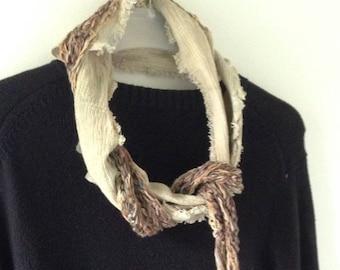 Men's scarf, crochet wearable art, long woven fiber art beige brown tan gray knit, eclectic wool grunge Lhasa i626 Life's an Expedition