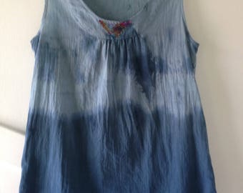 Top, sleeveless summer cotton tank, shirt blouse, hand dyed tie dyed denim blue, women's size 4 small s xs i306 Life's an Expedition