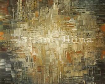 Earthy zen digital giclee print on CANVAS of original fine art painting BYGROVE CASTLE by Tatiana Iliina