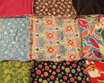 King Size Rag Quilt / King Rag Quilt / Raw Edge Quilt / King Size Quilt / Blue / Green / Orange / Rag Quilt