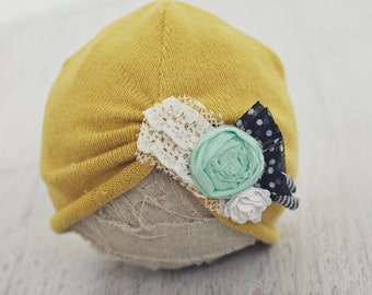 3 to 6 month turban hat // baby girl photo prop // photography // roses and lace // shabby chic // mustard mint // pretty girl hat // RTS