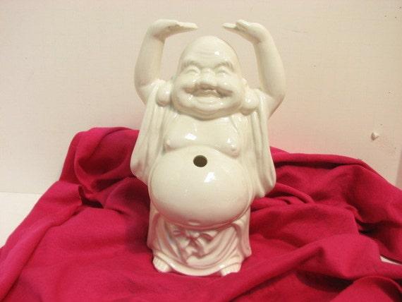 Vintage Buddha Figure, House of Hong Waikiki Hawaii, Figurine Straw Swizzle Stick Holder
