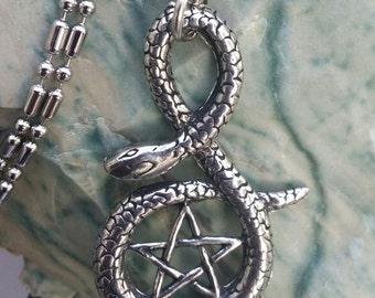 Silver Pewter Snake Pentagram Pentacle  Pendant Necklace