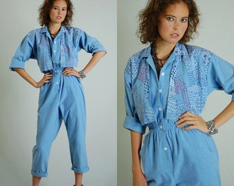 Red White Blue Jumpsuit Vintage 80s Light Blue Chambray Americana Indie Boho Slouchy Jumpsuit (s m)