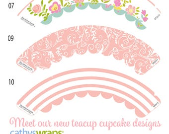 Tea Cup Cupcake Wraps. Tea Party Cupcakes in Pink & white Stripes, Flowers, Damask. DIY paper teacup tea party cupcakes