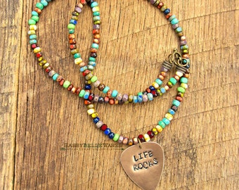 Life Rocks Guitar Pick Necklace music lover positive saying phrase quote inspirational festival ready fashion style rainbow vibrant bright