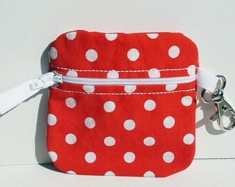 Inhaler/Mouthguard Red Polka Dot Soft Zipper Pouch, sports, roller derby, asthma
