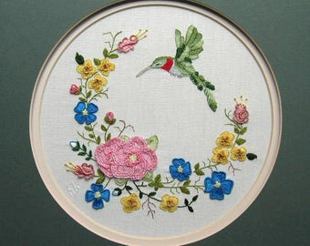 Hummingbird, Roses, Flowers, Needlework, Crewel, Embroidery, Sewing, Shabby Chic Decor, Vintage, Hand Stitched