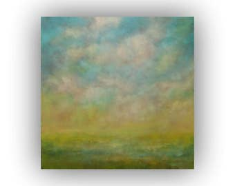 Large Blue Green and Yellow Abstract Landscape- 36 x 36 Oil Painting- Original Sky Clouds and Field Art on Canvas
