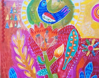 Mixed Media Bird and Flower painting on Canvas
