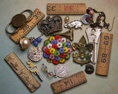 Small TRINKETS- Costume Jewelry Wooden Ruler Parts- Be Prepared Scouting Pin Charms- Assemblage Supply Lot Found Objects- A7