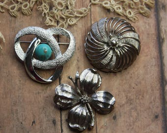 Vintage BROOCH (3)- Lisner- Sarah Coventry Signed- Silver Toned Pins- Flora- Dogwood Pin- Silver Jewelry- Beautiful Detail