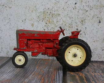 Vintage FARM TRACTOR- Red Chipped Paint- Die Cast Metal- Rustic Decor- Country Farm- Toy Tractor- F15