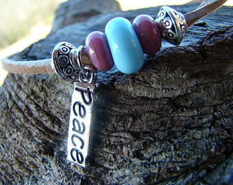 Charm Bracelet, Peace, Lampwork Glass Bead, Adjustable Bracelet, Slide Knot Bracelet, Leather Bracelet, For Her, Teen Bracelet, Boho