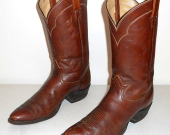 Mens 13 AA Tony Lama Cowboy Boots Extra Narrow Brown Leather Style 5084 Western