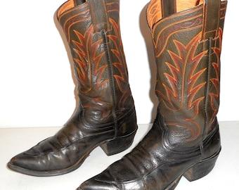 Vintage Hyer Cowboy Boots Mens Size 9 D Western Rockabilly Orange Red Brown Green